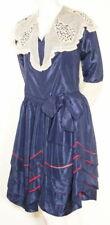 New listing Frilly Original c1920's Deep Blue Silk Taffeta Dress