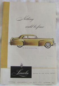 1947 Lincoln Continental Coupe, Original Car Advertisement, Vintage Print Ad