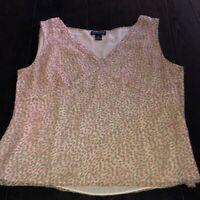 Ann Taylor Women's 16 Sleeveless Blouse Pink Beige Silk