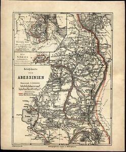 Abyssinia Ethiopia East Africa interior c.1867 detailed Ravenstein German map