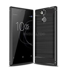 for Sony Xperia L2 Carbon Fibre GEL Case Cover & Glass Screen Protector