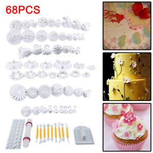 68 Pcs Cake Decorating Equipment Fondant Icing Cutters Tools Plunger Moulds Kit