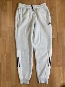 Adidas Originals Slim Fit Fleece Sweatpants Joggers Grey White Size Small Thick