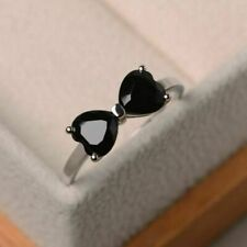 2Ct Heart Cut Black Diamond Bow Knot Engagement Ring In14K White Gold Fn For Her