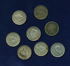 "ENGLAND ""THREEPENCE"" COINS: 1883, 1897, 1938, 1940, & 1943, GROUP LOT OF (8)"