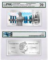 2017 Cook Is Skyline Singapore Foil Note 5 g Silver $1 PMG Gem Unc 70 SKU49172