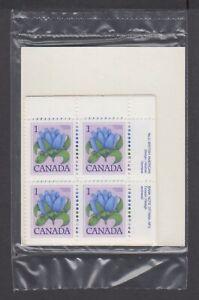 CANADA SEALED PLATE BLOCKS 781 PL 2 BABN FLORAL DEFINITIVES - BOTTLE GENTIAN