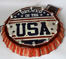Patriotic Metal Wall Art Brewed in the USA LED Dual Power Solar or Battery