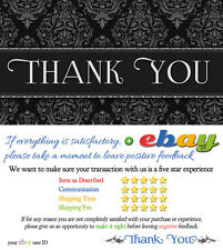 1000 CUSTOM ebay Seller THANK YOU Business Cards ELEGANT 5 FIVE STAR Rating NEW