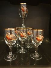 6 VINTAGE RETRO SMALL GLASSES SHERRY, PORT SHOTS  PHEASANT THEME.