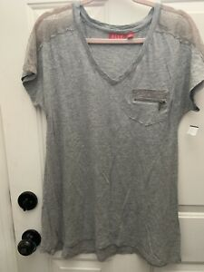 Maternity Elle SS Lace Accented Tunic Tee Size S NWT