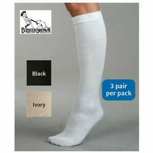 Women's Buster Brown Knee High Cotton Socks - Black White Ivory -Pack of 3 Pairs