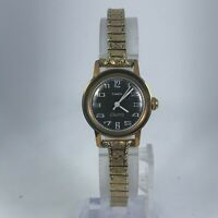 Vintage Timex Electric Womens Black Dial Gold Tone Stainless Steel Band Watch