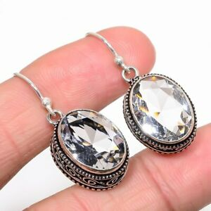 """White Topaz Vintage Style 925 Sterling Silver Jewelry Earring 1.38"""" S2692"""