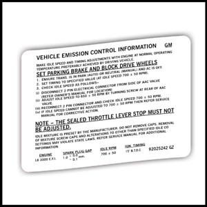 Holden VL Engine emission decal sticker label Turbo N/A HDT Calais RB30 RB30et