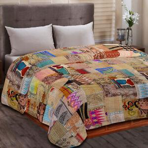 Indian Handmade Silk Patchwork Kantha Quilt Queen Blanket Bedspread Throw Multi