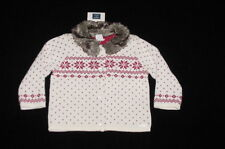 Nwt Janie & Jack Girls Snowflake Splendor Faux Fur Collar Cardigan Sweater 3-6 M
