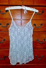 SECRET TREASURES  BABY DOLL SLEEPWEAR SIZE SMALL silver white flowers