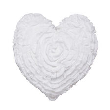 White Ruffled Heart Shaped Filled Scatter Cushion Logan & Mason Ultima Range