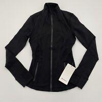 Lululemon Define Jacket Luon Sz 2 Black Solid NWT Full Zip Thumb Holes