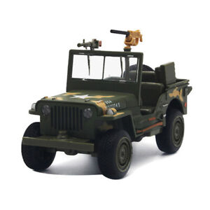 Willys WW II Jeep Military Vehicle Diecast 1:24 Model Car Toy Gift Sound Light