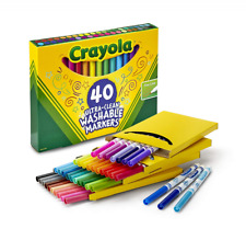 Crayola Ultra-Clean Washable Markers, Fine Line, 40 Count