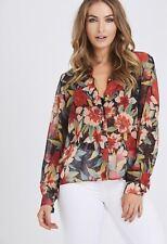 New Women Ladies Summer Chiffon Spring Red Sheer Floral Print Top Shirt Blouse