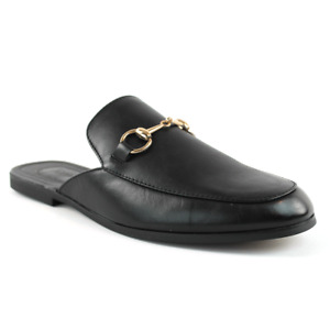 Mens Black Leather Backless Slip On Mule With Gold Buckle Loafers By AZAR MAN