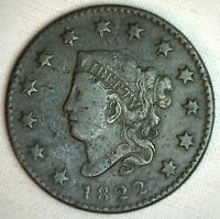1822 Coronet Large Cent US Copper Type Coin Fine Dark N11 Circulated 1c