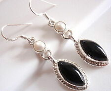 Black Onyx Cultured Pearl 925 Sterling Silver Earrings Rope Style Accent Dangle