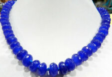 "Natural 5x8mm Faceted Blue Sapphire Gemstone Roundel Beads Necklace 18"" JN964"
