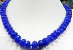 """Natural 5x8mm Faceted Blue Sapphire Gemstone Roundel Beads Necklace 18"""" JN964"""