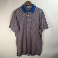 Peter Millar Men's Large Polo Shirt Golf Cotton Blue Peach Stripes Short Sleeve