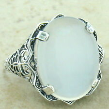 GENUINE MOONSTONE ANTIQUE STYLE 925 STERLING SILVER FILIGREE RING SIZE 8,   #921