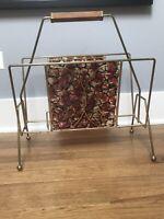 Vintage Brass and Plastic Multi color Magazine rack
