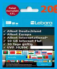 LEBARA Prepaid SIM Allnet +49 Laender Flat International + 10 GB Internet + 5€