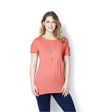 QVC 166390 Grace Size 10 Cold Shoulder Stud Detail Tunic & Slider Necklace CORAL