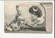 cartolina calendario mese settembre septembre   1904 caccia fucile