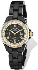 Ladies Charles Hubert Crystal Bezel Black Ceramic Watch