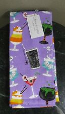 Isaac Mizrahi New York Set of 2 Kitchen Towels Halloween Purple