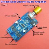 DC 12V-24V Class D Digital Audio Amplifier Board Dual Channel 15W*2 Power Amp