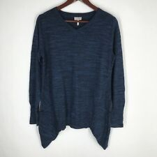 LOGO by Lori Goldstein Sz Small Cotton Cashmere Blend Sweater Blue Long Sleeve