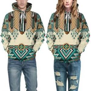 Men Women Hoodies Sweatshirt Couples 3D Print Native American Wolf Pullover Tops