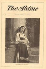 Sweet Nothing, Pretty Italian Girl, Dolce Far Niente, Vintage 1875 Antique Print