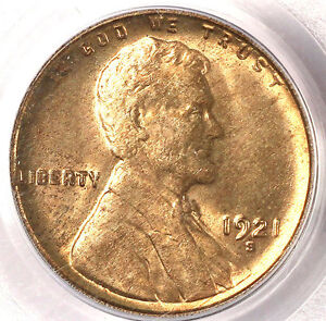 1921-S 1C MS64RD PCGS/CAC-ONLY 17 IN HIGHER GRADE- LINCOLN CENT
