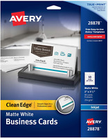 Avery Printable Business Cards, Inkjet Printers, 90 Cards, 2 x 3.5, Clean Edge