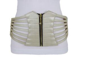 Hot Women Fashion Elastic Wide Stretch Western Gold Champagne Belt Plus L XL XXL
