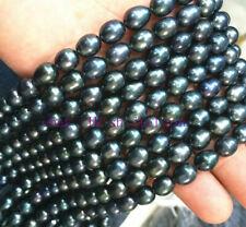 "Black Pearl loose beads 14"" Beautiful 8-9Mm Natural South Sea Baroque"