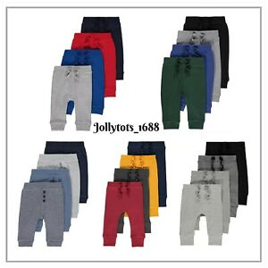 NEW Baby Boys Jersey Joggers Leggings 4 Pack Grey Red Green Blue 0-24 Months