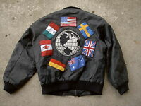 Vintage Leather Flight Jacket Flags of the World Patch Jacket mens size: M